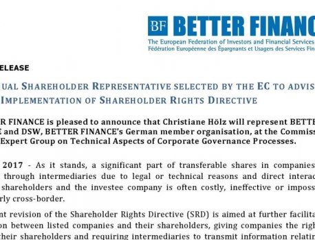 BETTER FINANCE representative selected by the European Commission to advise on the implementation of Shareholders' Rights Directiv...